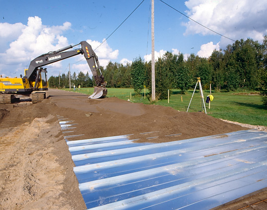 Photograph Of A Road Construction Over Peat Using Box Profile Galvanised Sheeting From Temmes Finland Finnra